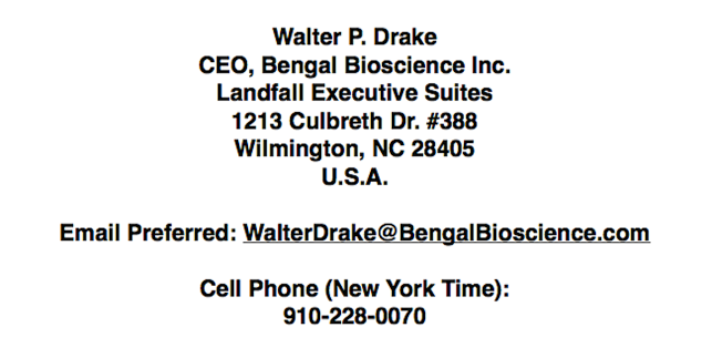 Bengal Bioscience address in Wilmington, North Carolina, USA. 1213 Culbreth Dr. #388, Wilmington, NC, 28405